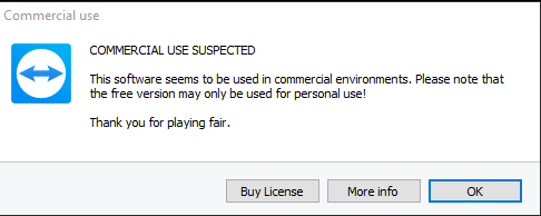 teamviewer detected commercial use