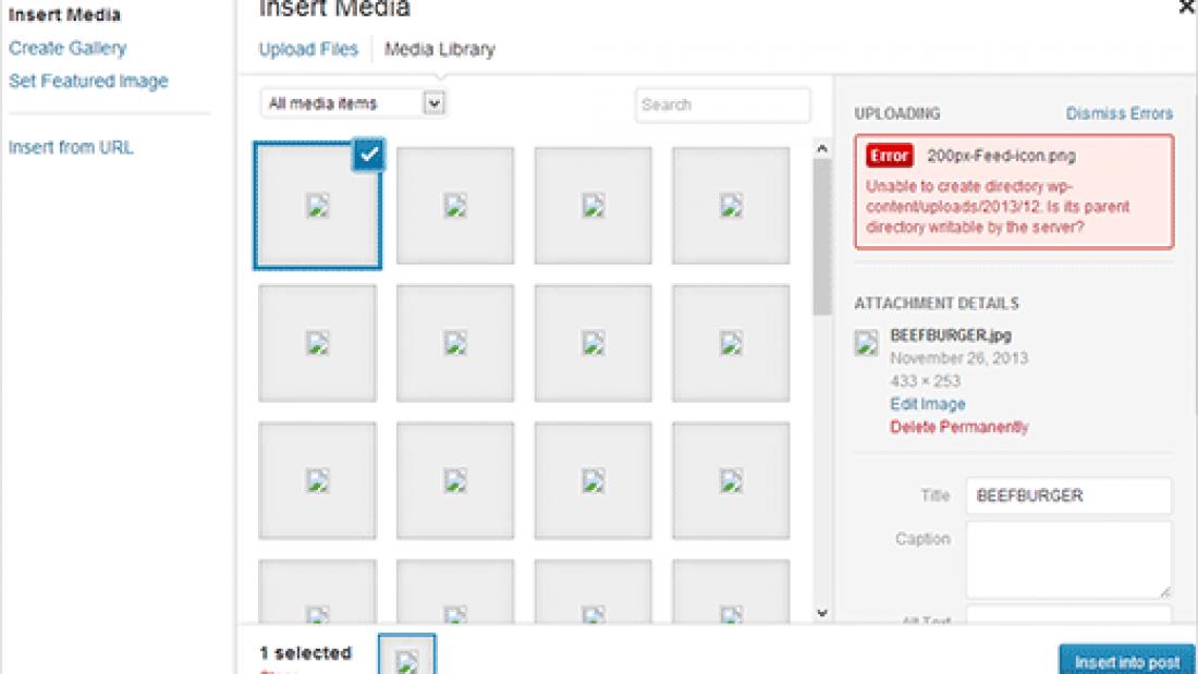 WordPress images not uploading