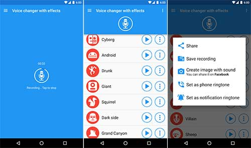 Voice changer with effects app interface