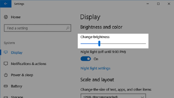 How to adjust brightness in windows 10